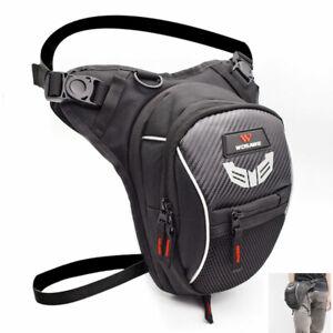 Universal Reflective Motorcycle Drop Leg Waist Bag Mesh Hiking Travel Black