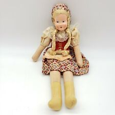 """Vintage Polish Ethnic Cloth Doll 12"""" Golden Braids Marked Poland Collectible"""