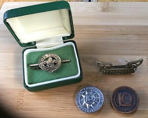 Vintage Boy Scout and Ovaltineys Memorabilia badges with thanks..Sterling silver