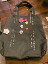 MARC JACOBS Fragrance Linen Tote Bag with Badge Pins,