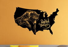 Bear Grizzly Wall Decal USA Map Vinyl Sticker Nature Atr Home Wall Decor 7br