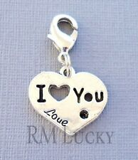 I LOVE YOU Clip On Charm Lobster Clasp Fit for Link Chain, Floating locket C141