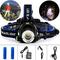 9000LM XML T6 LED Headlamp Headlight Adjustable Focus 18650 ZOOM Head Light Lamp