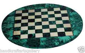 """24"""" Green Marble Coffee Chess Table Malachite Inlay Stone Playroom Decors H2046"""