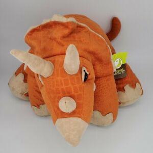Animal Adventure Large Orange & Tan Triceratops Stuffed Plush Dinosaur