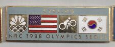 1988 NBC Seoul Olympic Guest Pin Cycling Press Media US Korea Flag Gray