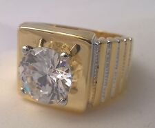 G-Filled Men's 18ct yellow gold simulated diamond solitaire ring Gents bling new