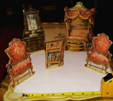 OLD GERMAN VICTORIAN CARDBOARD TOY THEATRE DOLL HOUSE FURNITURE CHAIRS BED LOT