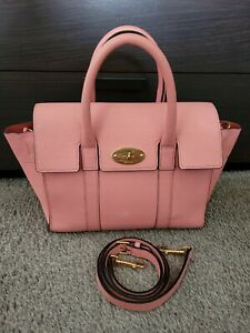 Mulberry Bag Small Bayswater Satchel Macaroon Pink With Strap Authentic In Good