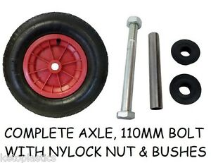 "REPLACEMENT 14"" PNEUMATIC  WHEELBARROW WHEEL INFLATABLE TYRE 3.50/4.00-8 + AXLE"