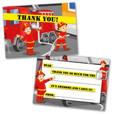 10 Kids Thank You Cards Fireman Themed and 10 Envelopes