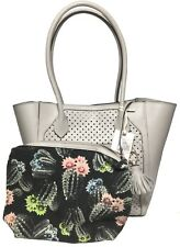 NWT Jessica Simpson Woman's Perf Tote W/Pouch, Ash Color, Tassel Detail