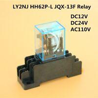 DC12V - AC110V Coil Power Relay DPDT LY2NJ HH62P-L JQX-13F W/ PTF08A Socket Base
