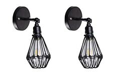 2 Industrial Vintage Wall Sconce Hallway Wall Lighting Fixture with Wire Cage
