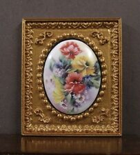 "FRAMED  FIRED  PORCELAIN  PICTURE ~ ""Floral"" ~Dollhouse ~ 1:12 scale ~ Room Box"
