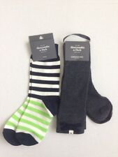 NWT Set of 2 Abercrombie and Fitch Women Socks Slouchy Boot Stripe Knee Gray F/S