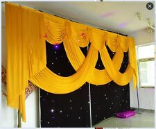 Gold color Wedding event stage decorations backdrop ice silk fabric swag only