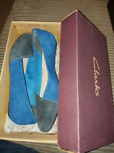 Clarks Blue & Black Tipped Flat Shoes Size 4