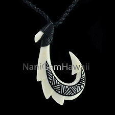 Fish Hook Hawaiian Polynesian Hand Carved Buffalo Bone Makau Black Necklace