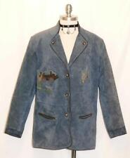 "BLUE LEATHER JACKET Coat German Women Hunting EMBROIDERY Western Eu 44 B46"" 16 L"