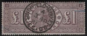 1877 QV SG T17 £1 Brown-Lilac L236 Telegraph Fine Used CV £950 Scarce