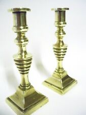 Antique Victorian Miniature Candlesticks in Brass with Bee Hive Styling