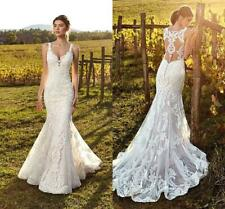 Ivory Straps Wedding Dresses Bridal Gowns Deep V Neck Lace Mermaid Summer Beach