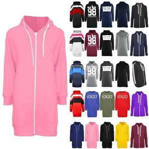 Ladies Fleece Long Sleeve Hooded Zip Up Womens Hoodies Sweatshirt Jacket Dress