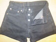"""+ + + + LEVI 501 Vintage Negro Pantalones Cortos De Mezclilla Talla 6/8 W26"""" Alta Cintura/Cortar"""