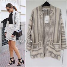Zara Knit Ecru Black Jacquard Coat Jacket With Pockets Size M