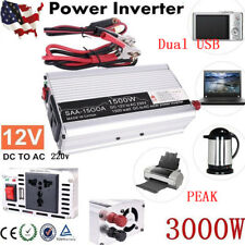 3000W Peak Power Inverter DC 12v to AC 220v Car adapter USB Charger Converter