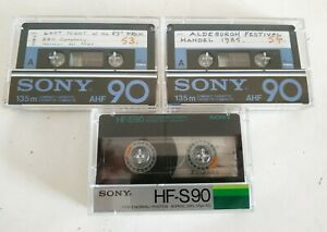 2 x SONY AHF90 CASSETTES + 1 x SONY HF-S90 CASSETTE USED VINTAGE RARE