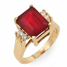 Estate ring 3.9 ct natural ruby and diamond 14k gold