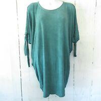 New Umgee Top M Medium Green Cold Shoulder Tie Short Sleeve T Shirt
