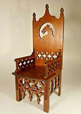 """Gothic Throne Chair for TONNER BJD Dolls 16"""" 1/4 wood handmade OOAK V219"""