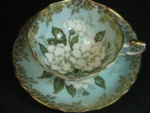 VTG Paragon 1940 Floating Gardenia Blue Teacup & Saucer Gold Filigree Rare Mint!
