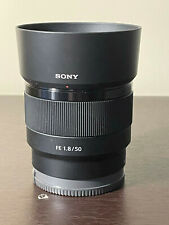 Sony FE 50mm f/1.8 Lens with lens caps and hood for Sony
