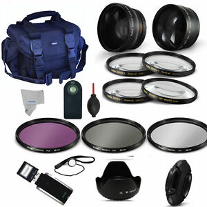 49MM WIDE ANGLE LENS + TELEPHOTO ZOOM LENS + PRO KIT FOR CANON EOS M5 M50 M3