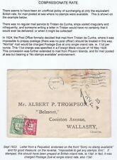 # 1922 COVER EX TRISTAN DA CUNHA NO STAMPS AVAILABLE LONDON PAQUEBOT POSTAGE DUE