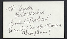 Frank Parker Autographed 3x5 Index Card Great for Framing Tennis Champion