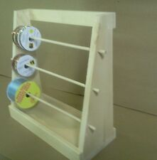 Wooden Ribbon Rack hand made of unfinished pine wood shelf or counter top stand