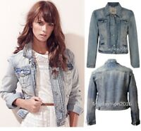 New Ladies Denim Jacket Women Falmer Heritage Fitted Vintage Shirt Coat 8-20size