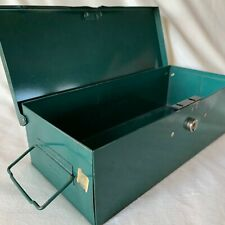 "Vintage Metal File Box Merriam No. 8 Guardsman 11 1/2 x 5 1/4 x 3 1/4"" Green"