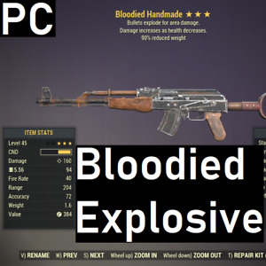 [PC] Bloodied Explosive Handmade 90% Reduced Weight Fallout 76 BE90