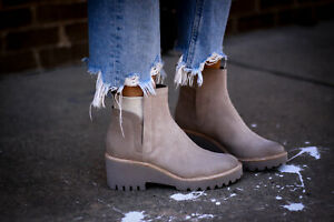 8 - Dolce Vita Light Gray Suede Leather Platform Wedge Huey Boots NEW 0606RO