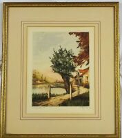 Original Hand Colored Etching On the Isere River (Melzicourt) by Stephan