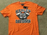 Harley Davidson V Twin Orange Shirt Nwt Men's Medium