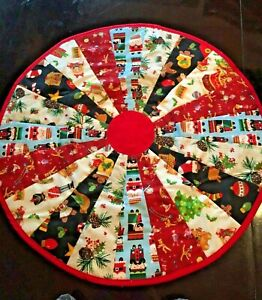"""Christmas Joy Design Handcrafted 23"""" Round Handmade Quilted Table Topper"""