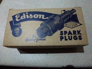 Vintage Edison Spark Plug Box  .