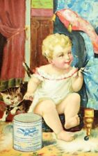 Lovely Cat Baby Gail Borden Eagle Brand Condensed Milk Victorian Trade Card P74